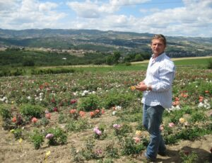 Fabian Ducher in his rose field